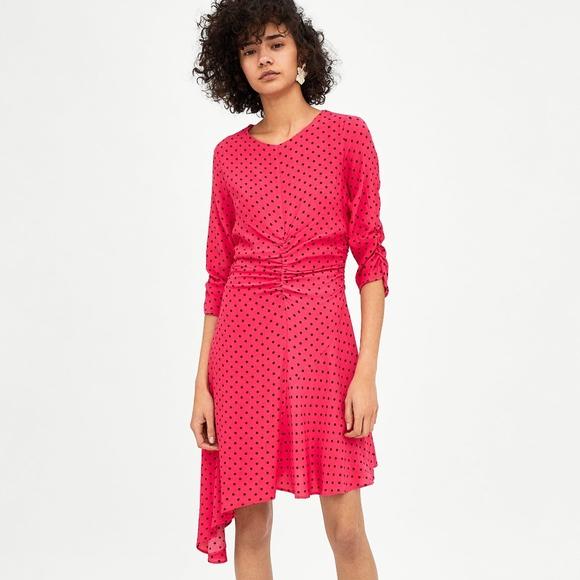 5cb35de2 Zara Dresses | Gathered Polka Dot Dress Pink Fuchsia Ruched | Poshmark